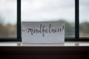 'mindfulness' written on a card