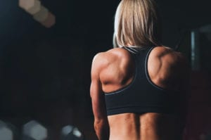 back of woman working out