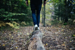 walking on a log